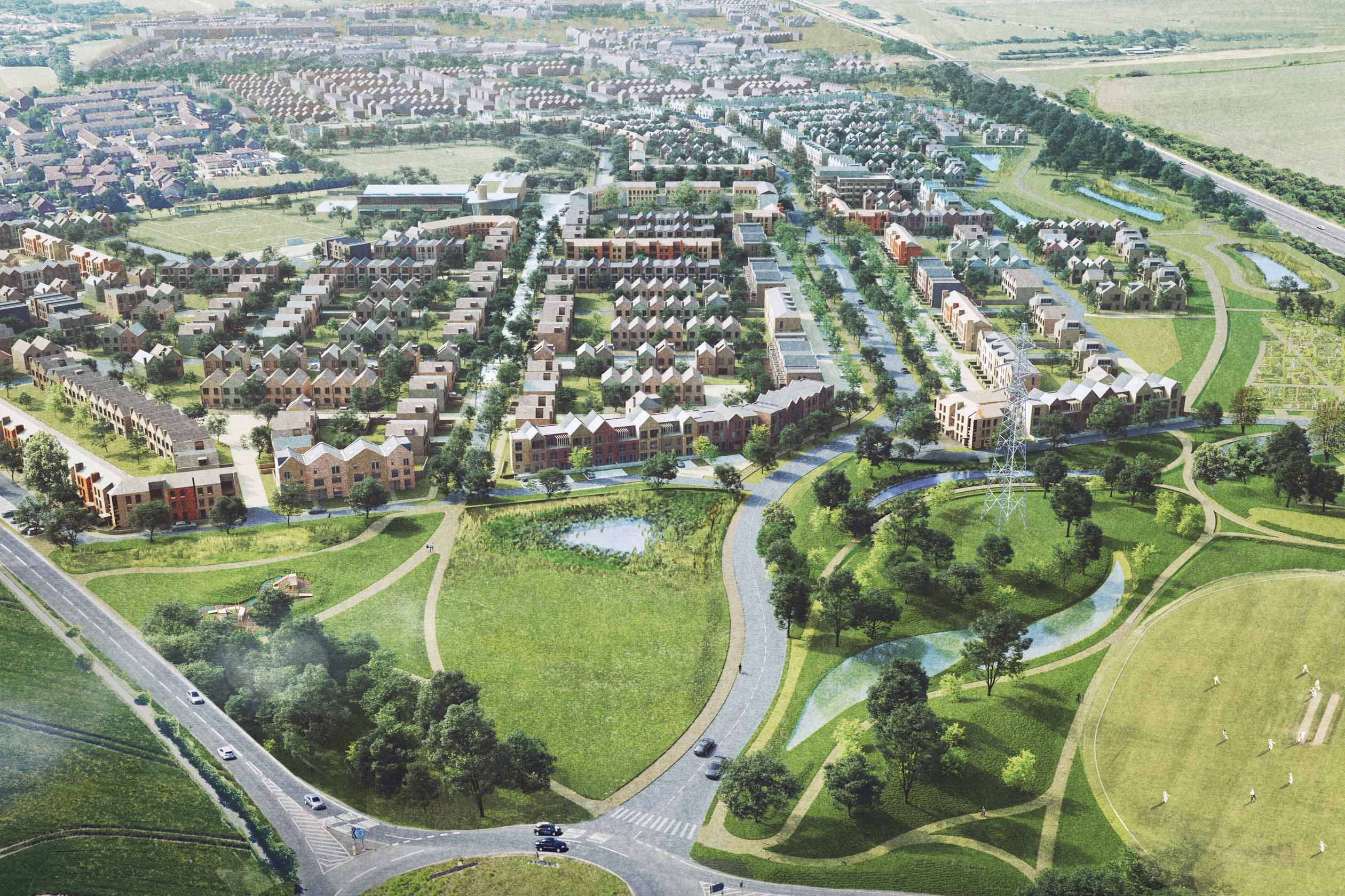 Barratt Homes at Linmere, Ariel View over the development