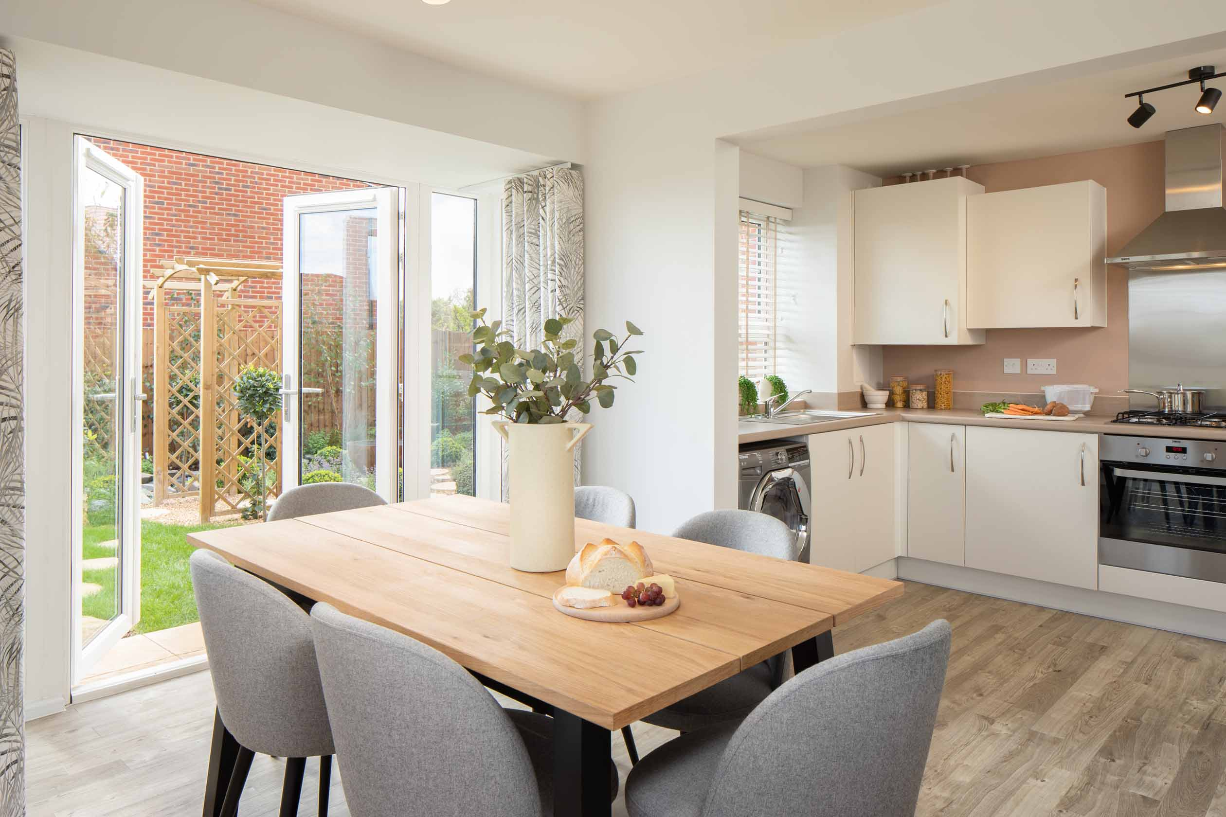 Morpeth internal kitchen and dining room with french doors, barratt homes, orchard green, kingsbrook
