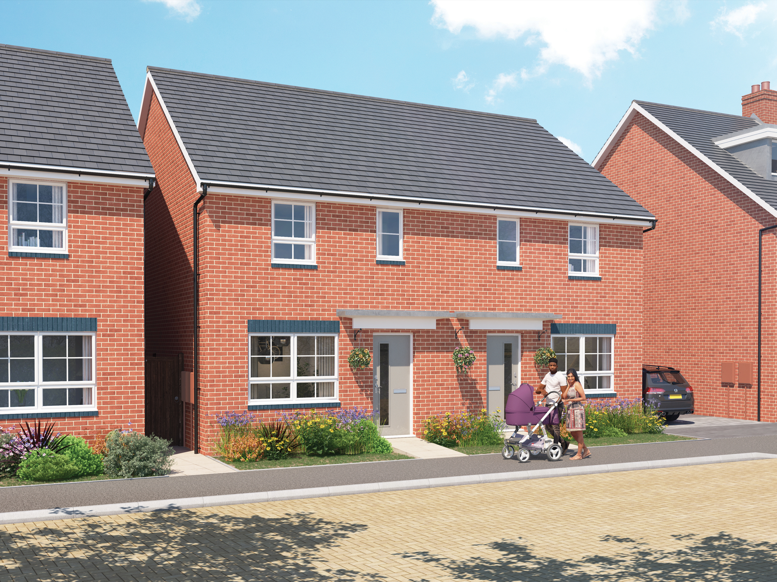 Outside view of the Maidstone. 3 bed home. CGI.