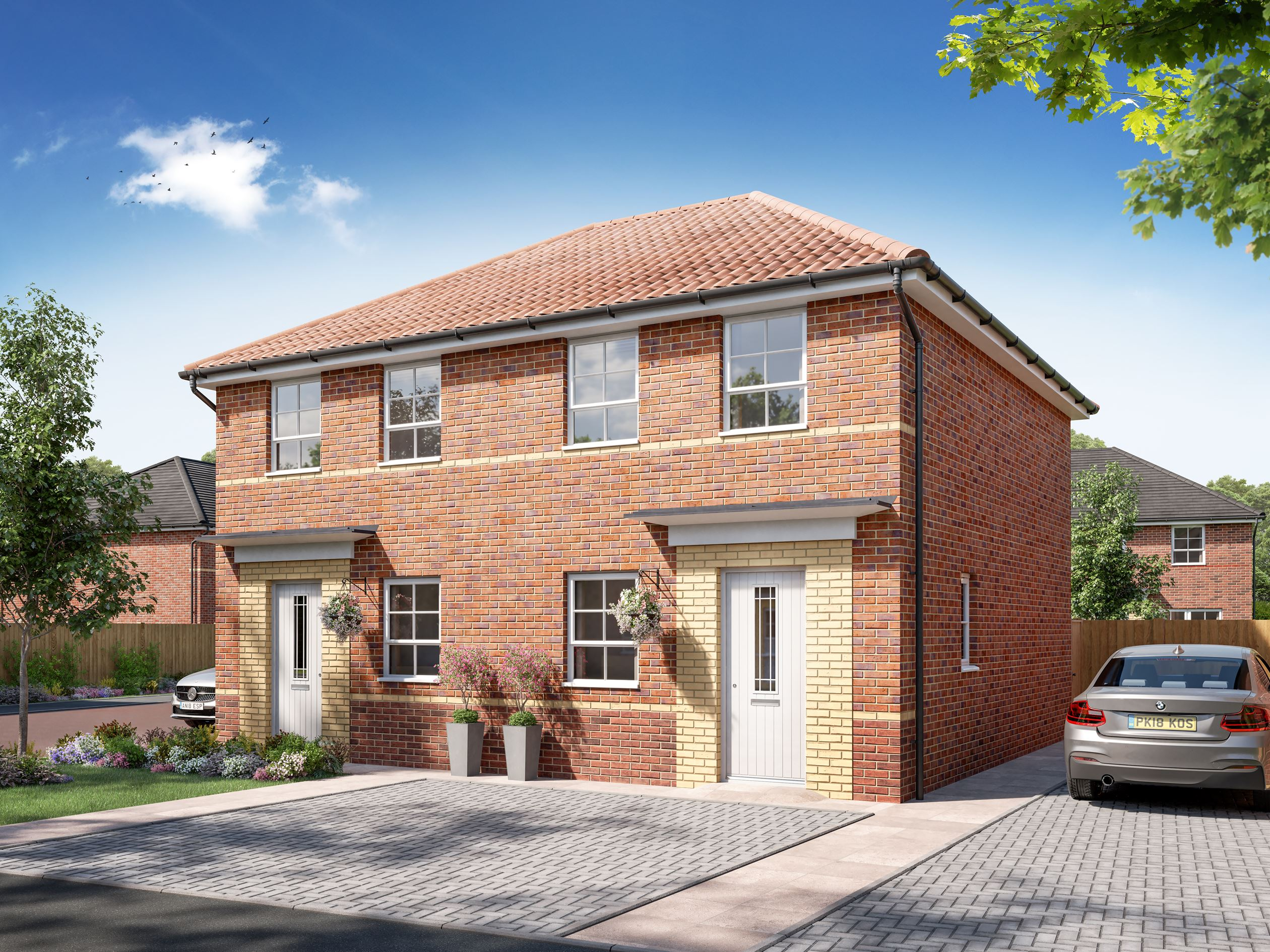 Exterior CGI view of Denford 3 bedroom home