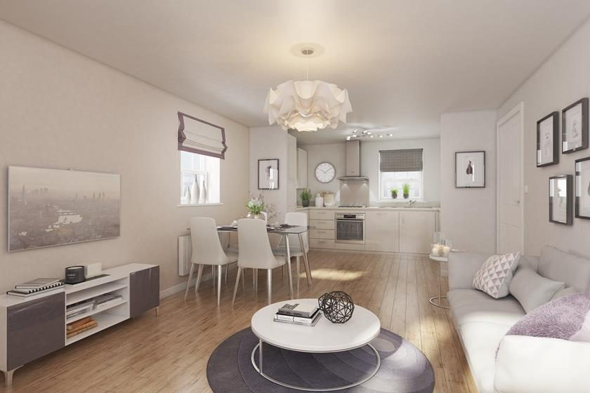 Open plan lounge and dining area of the Chichester 2 bedroom apartment