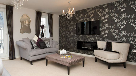 Living room designed with luxe glamour elements with features such
