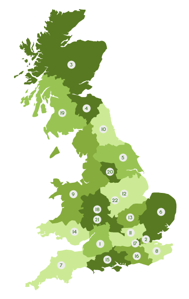 Map of the UK areas